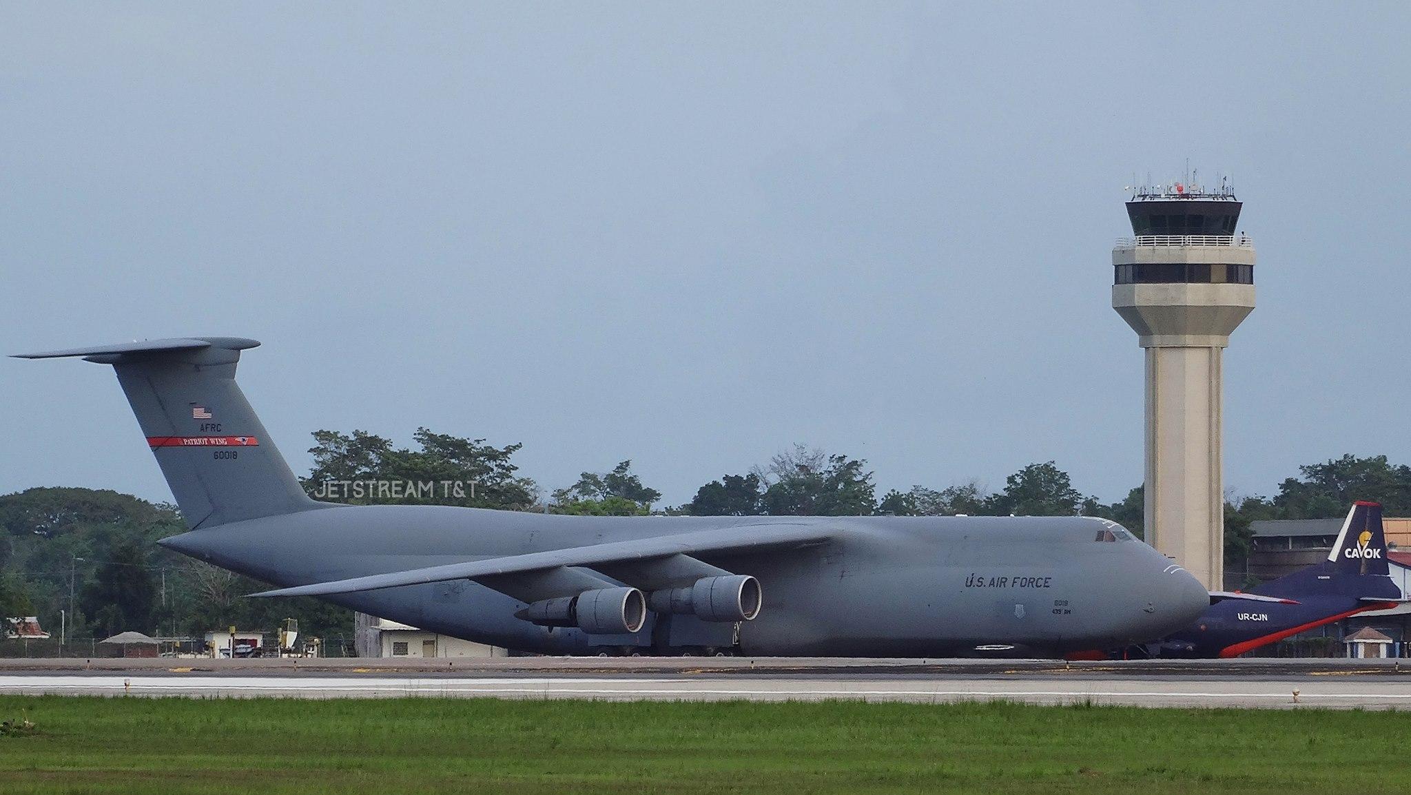 us air force c5 galaxy class aircraft at piarco